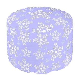 カスタムなPoufの足台のltpurpleの白い雪片 プーフ