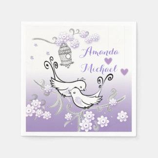 カスタムなservietteを結婚しているパステル調愛鳥 スタンダードカクテルナプキン