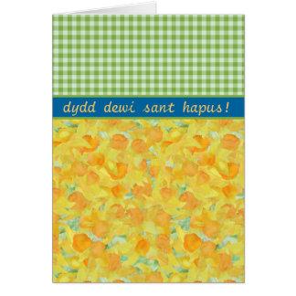 カスタムなSt Davidの日のカード、ラッパスイセンおよびギンガム カード