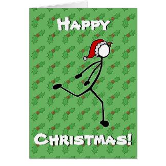 カスタムなStickmanのランナーのクリスマスカードのヒイラギの果実 カード