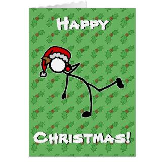 カスタムなStickmanの砲丸投げクリスマスのヒイラギの果実 カード