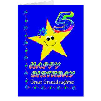 カスタムのひ孫娘のための第5誕生日の星 カード