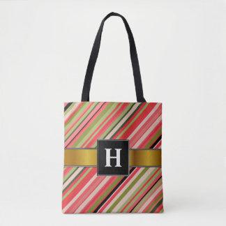 カスタムのイニシャル + スイカインスパイア縞で飾ります トートバッグ