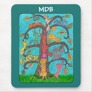 カスタムのモノグラム猫の生命の樹 マウスパッド