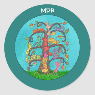 カスタムのモノグラム猫の生命の樹 ラウンドシール