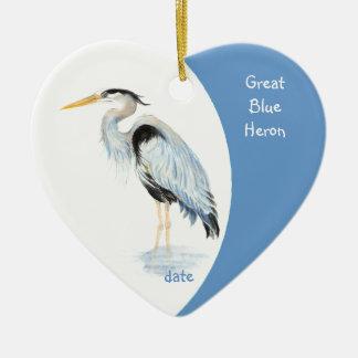 カスタムの日付がついた素晴らしい青鷲の水彩画の鳥 セラミックオーナメント