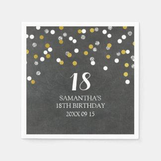 カスタムの第18誕生日のナプキンの金ゴールドの銀の紙吹雪 スタンダードカクテルナプキン
