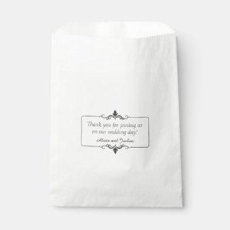 カスタムはメッセージの名前入りな結婚式感謝していしています フェイバーバッグ