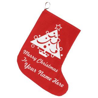 カスタムはメリークリスマスのストッキングを個人化します ラージクリスマスストッキング