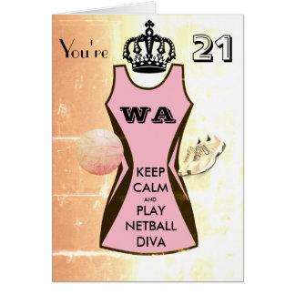 カスタムは穏やかなおよび演劇のネットボールの第21誕生日保ちます カード