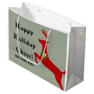 カスタムは/一流を-幸せな休日の応援/トナカイ加えます ラージペーパーバッグ