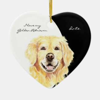 カスタムはI愛に私のゴールデン・リトリーバー、犬、ペットと日付を記入しました セラミックオーナメント