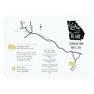 カスタムデザインの結婚式の地図 カード