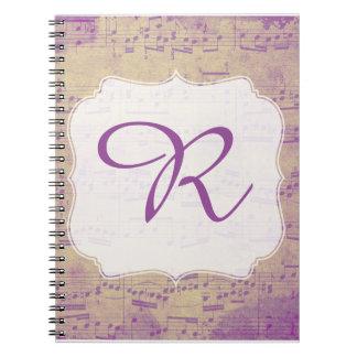カスタム最初の音楽ノートの紫色Grungle ノートブック