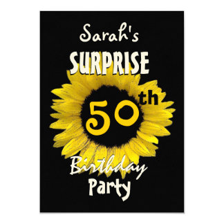 カスタム第50の驚きの誕生日の黄色のヒマワリ カード