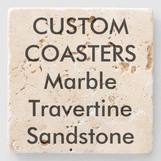 """カスタム4""""実質の石造りのTravertineのコースターのコルクの背部 ストーンコースター"""