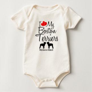 カスタムI愛ボストン私の2匹のテリア ベビーボディスーツ