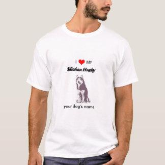 カスタムI愛私のシベリアンハスキーの人のTシャツ Tシャツ