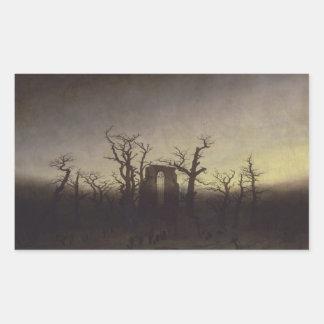 カスパー・ダーヴィト・フリードリヒ著オークの木間の大修道院 長方形シール