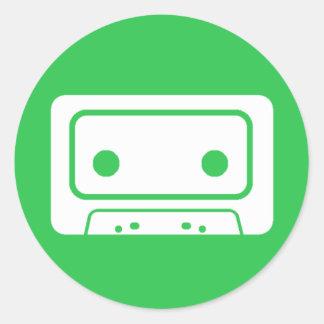 カセットテープアイコン ラウンドシール