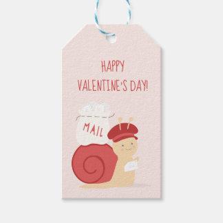 カタツムリ郵便のバレンタインのメッセージカード ギフトタグ