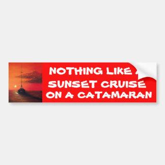 カタマランの日没の巡航 バンパーステッカー