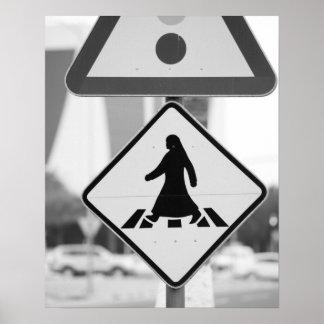 カタールの広告Dawhah、ドハ。 アラビアの歩行者 ポスター