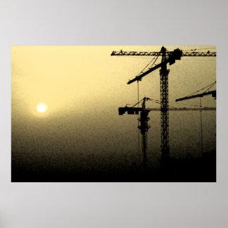 カタール1の砂嵐の日没 ポスター