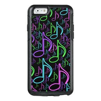 カッコいいおよびおもしろい明るいネオン音楽ノートパターン オッターボックスiPhone 6/6Sケース