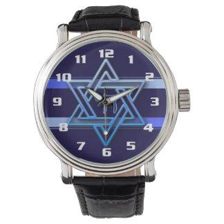 カッコいいおよびエレガントなヘブライシェおよびダビデの星 腕時計