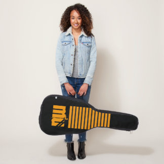 カッコいいのストライプの黒のオレンジモダンでシンプルなスタイリッシュ ギターケース
