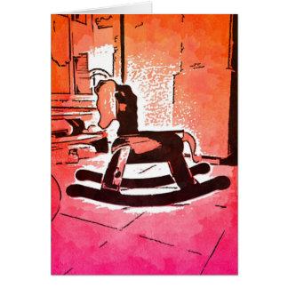 カッコいいの子供の木の揺り木馬のおもちゃのポップアート カード