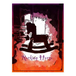 カッコいいの子供の木の揺り木馬のおもちゃのポップアート ポストカード