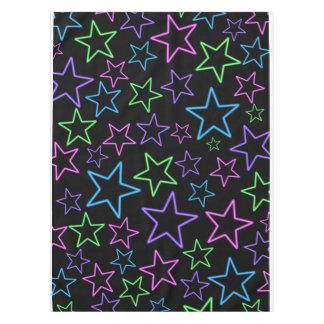 カッコいい、おもしろい、明るい動的ネオン星パターン テーブルクロス