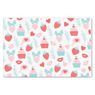 カップケーキおよびいちごのバレンタインデー 薄葉紙