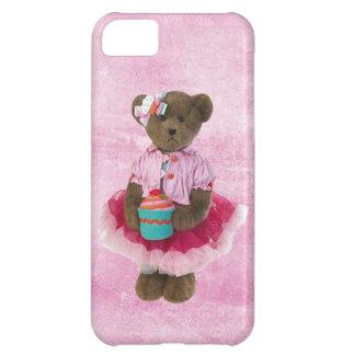 カップケーキが付いているピンクのチュチュのかわいいくま iPhone5Cケース
