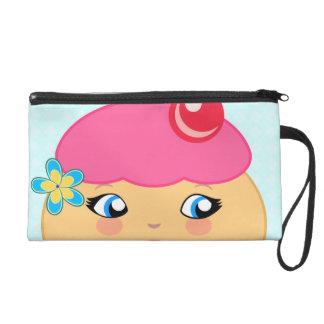 カップケーキのかわいいのピンクのオートクチュールのリストレットの財布のバッグ リストレット