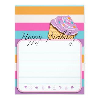 カップケーキのハッピーバースデーの平らなカード カード