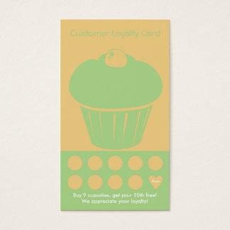 カップケーキのロイヤリティの名刺のパンチカード 名刺