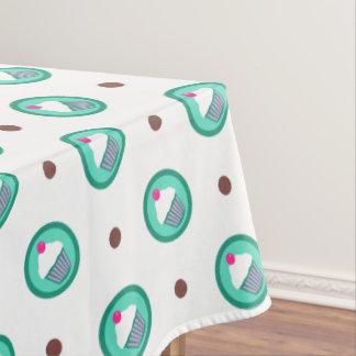 カップケーキの円の点のテーブルクロス テーブルクロス