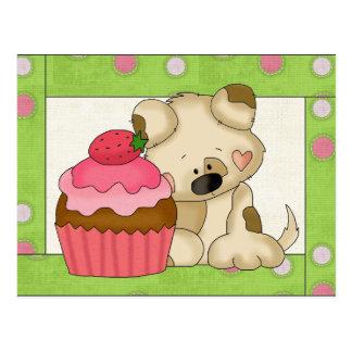 カップケーキの子犬の漫画のおもしろいの郵便はがき ポストカード