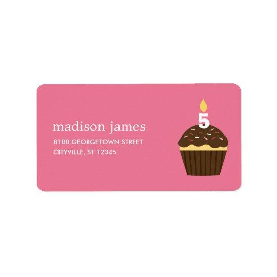 カップケーキの宛名ラベル-ピンク 宛名ラベル