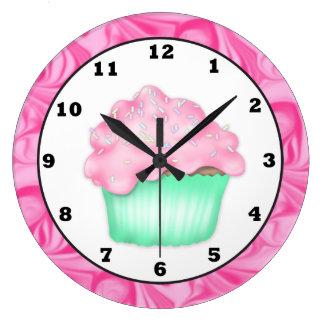 カップケーキの甘い御馳走柱時計 ラージ壁時計