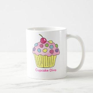 カップケーキの花型女性歌手 コーヒーマグカップ