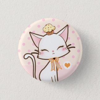 カップケーキを持つかわいいのかわいく白い猫 3.2CM 丸型バッジ