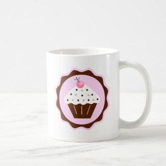 カップケーキブラウン及びピンク コーヒーマグカップ