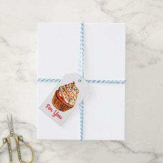 カップケーキ愛-赤い結婚披露宴のブライダルシャワー ギフトタグ