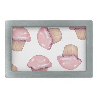 カップケーキ、ピンクのアイシング、任意パターン、絵 長方形ベルトバックル