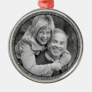 カップルか家族写真の記念品 メタルオーナメント