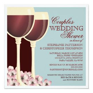 カップルのウェディングシャワーのワインのテーマの招待状 カード